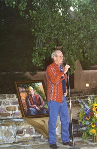 Doug Schwartz at his retirement party in 2001 where he received his portrait from the board of directors.