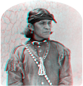 Hopi Man stereoview, circa 1900 (3-D)