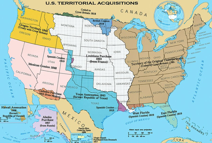 United states territorial acquisitions map of united states
