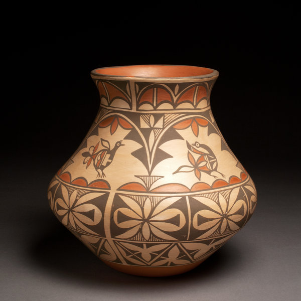 polychrome jar with bird designs by daryl candelaria clay and paint