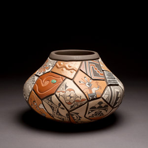 """Shard"" pot by Daryl Candelaria, clay, paint, turquoise cabochon, c. 2007"