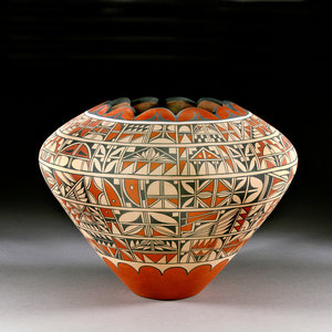 Polychrome jar with scalloped edges by Joseph Latoma, clay and paint, 2012