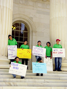 Students Against Uranium Mining members demonstrate on the steps of the Tenth Circuit Court in Denver, Colorado