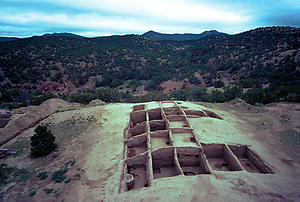 View of a portion of Arroyo Hondo Pueblo during excavations in 1971.