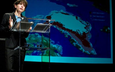 "SAR's spring 2018 public lecture speaker Elizabeth Kolbert interviewed on NPR's ""Democracy Now"" about climate change and hurricanes Harvey and Irma"