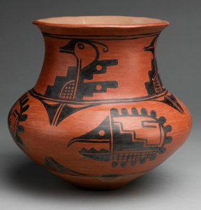Water jar made in 1920 by Tonita Roybal (jar), painting on it attributed to Crescencio Martinez (both of San Ildefonso Pueblo), catalog number IAF.283