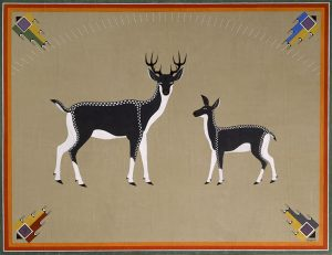 "Painting, ""Two Deer"" by Awa Tsireh (Alfonso Roybal), San Ildefonso Pueblo, 1932 or 1933, oil on canvas, 65 3/4 × 85 1/4 × 1 3/4 in., catalog number SAR.1978-1-216"