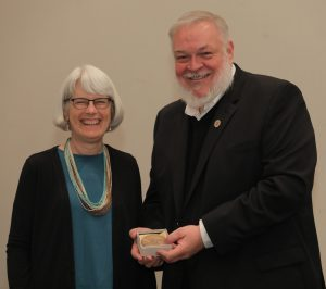 Alex Barker, AAA President and Patricia Crown, editor of two SAR Press books, recipient of the Alfred Vincent Kidder Award for Eminence in the Field of American Archaeology. AAA Annual Meeting, 2018. Photo courtesy of the American Anthropological Association and Josh Gold Photography.