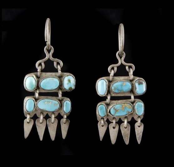 Zuni turquoise and silver earrings indian arts research center collection