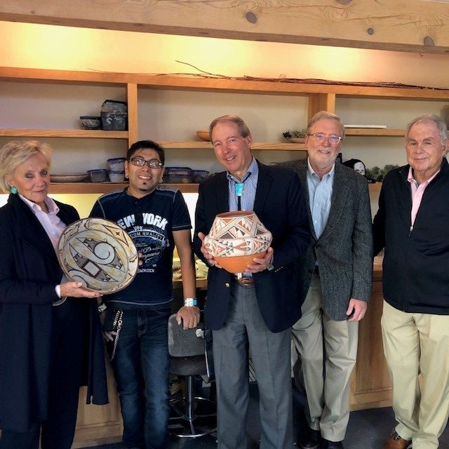 Timothy Edaakie with Senator Tom Udall, Jill Udall, SAR president Michael F. Brown, and SAR board member Joe Colvin, 2019.