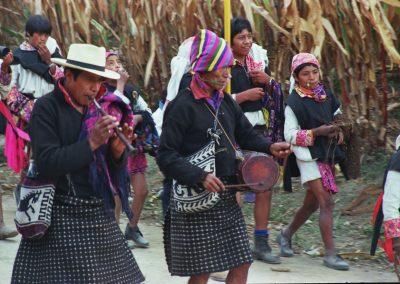 Tambor (drum) and chirimía (reed flute) players in Santa Catarina Ixtahuacán. Courtesy of David Radtke, 1985.
